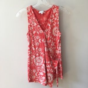 Lucky brand patterned sleeveless top w/ tie